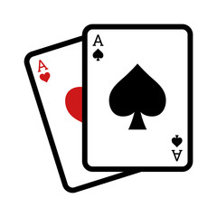 Blackjack poker cards line art icon for apps and websites