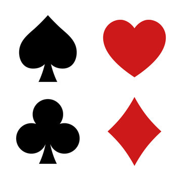 Playing card spade, heart, club, diamond suit flat icon for apps and websites