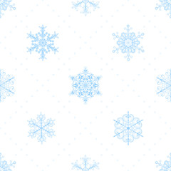 Seamless pattern of snowflakes, light blue on white