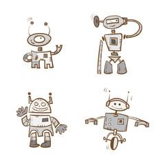 Cartoon robots set. Vector image. Doodle stile.