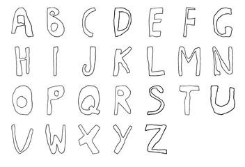 Hand drawn child English alphabet Line contour. Vector illustration.