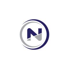Single Initial Modern Logo Circle N