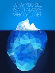 Iceberg under water and above water. Vector illustration in low poly  style. Concept polygon image