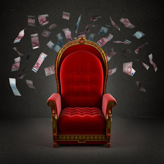 the royal throne in the room with falling euro banknotes