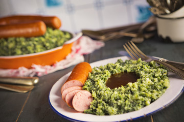 Dutch food: kale with smoked sausage or 'Boerenkool met worst'