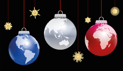 Christmas balls planet earth - three different angles of view. Three-dimensional illustration on black background.