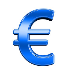 Euro sign from shiny blue alphabet set, isolated on white. Computer generated 3D photo rendering.
