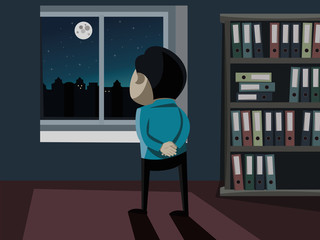 Lonely man stands at the window and thinking about the future. Business Plan. Vector simple illustration.