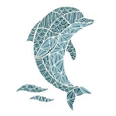 Stylized vector Dolphin, zentangle isolated on white background