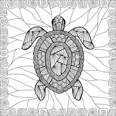 Stylized turtle style zentangle.