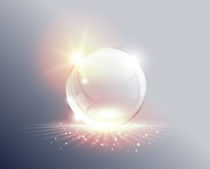 Absctract background. Transparent glass sphere on sunrise