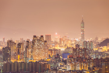 City of Taipei at night, Taiwan