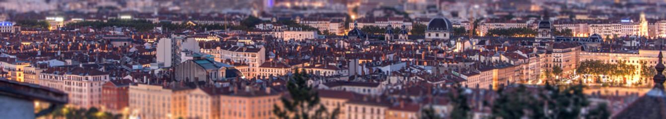 Poster Aubergine Lyon, panorama urbain