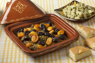 Tagine with apricots and prunes