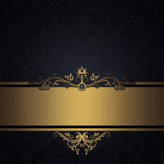 Wall Mural - Black vintage background with gold border.