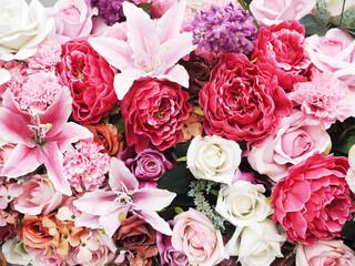 Close up of artificial flower bouquet
