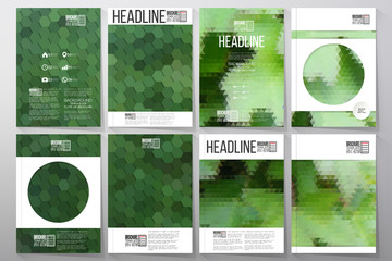 Business templates for brochure, flyer or booklet. Green leaves texture. Collection of abstract multicolored backgrounds. Natural geometrical patterns. Triangular and hexagonal style vector