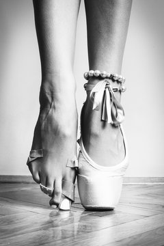 Feet of dancing ballerina