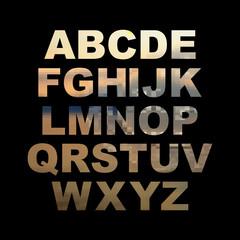 Design elements - gold 3D font. Set. Vector illustration
