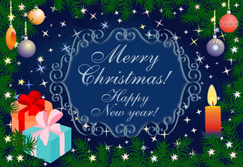 Merry Christmas and Happy New Year Card.