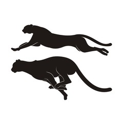 Black Silhouette of Cheetah Vector