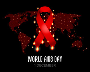 Red ribbon of aids awareness with text for 1st December World Aids Day. World map. Isolated vector illustration.