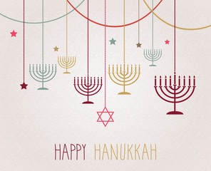 Hanukkah poster. Hanging colorful menorah. Vector illustration.
