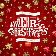 Christmas decorations and type design on a knitted red background