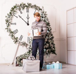 happy man carries gifts