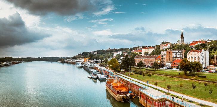 Panorama of Belgrade with Sava river. Color tone tuned