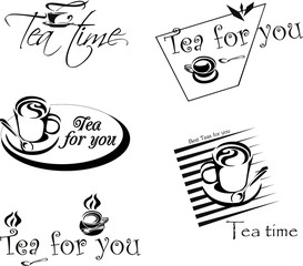 Set of colored and black logos on a white background for tea, coffee and restaurants. Vector design element, logos, labels, badges, business signs