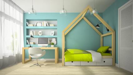 Interior of modern design room with original bed 3D rendering 2