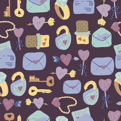 Love Letter seamless vector pattern with adorable sweets, letters, keys and hearts. Hand drawn texture for fabrics, paper and web. St.Valentines Day.