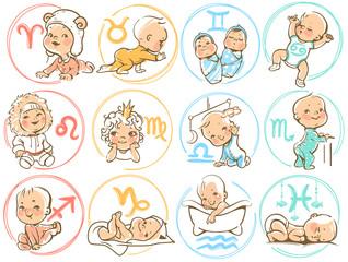 Baby zodiac. Horoscope sighns as cartoon kids