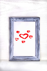 a lot of hearts is in a frame on a white background