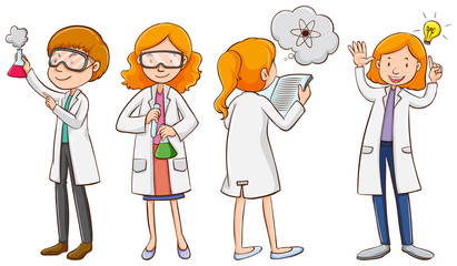 Male and female scientists