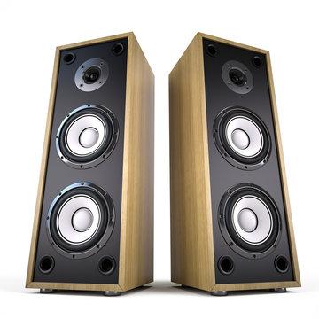 Two Big Audio Speakers boxes – advertisement, music, concert, audio concept