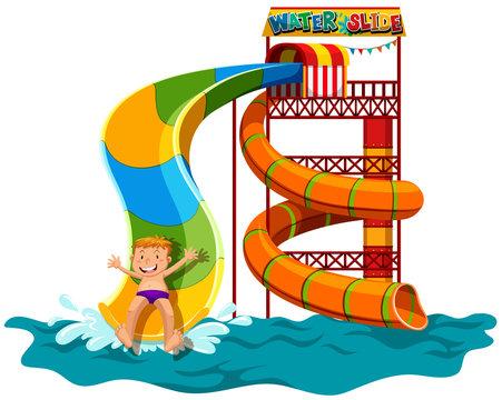 Man sliding down the water slide