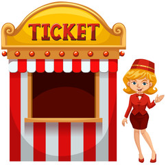 Woman selling ticket at the booth