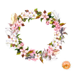 Vintage frame - wreath in boho style. Feathers and flowers cherry, apple flower blossom. Watercolor vector for fashion design
