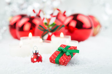 Mini Gift and Christmas Ball in Festive Still Life