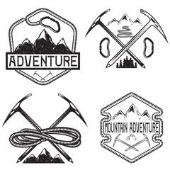 set of grunge vintage labels mountain adventure
