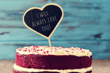 cake and text I will always love you