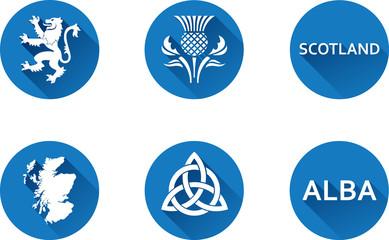 Scotland Flat Icon Set Set of vector graphic flat icons representing symbols and landmarks of Scotland.