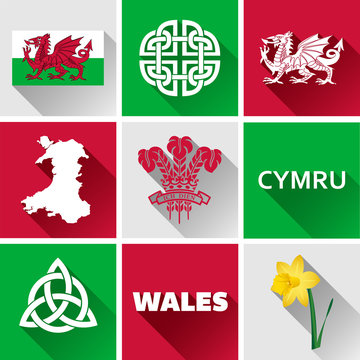 Wales Glossy Icon Set. Set of vector graphic flat icons representing symbols and landmarks of Wales.
