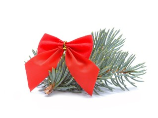 red ribbon and white spruce