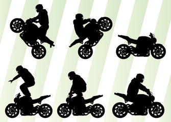 Motorcycle performance extreme stunt driver vector background co