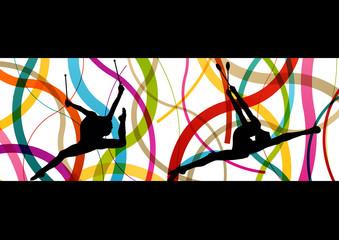 Female woman modern rhythmic gymnastics art with Indian clubs ve