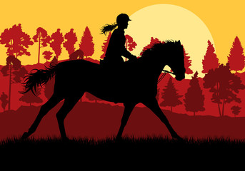 Horse with rider countryside landscape equestrian sport vector b