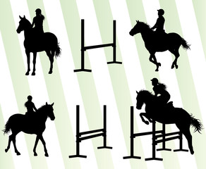 Horses with jockey equestrian sport vector background concept